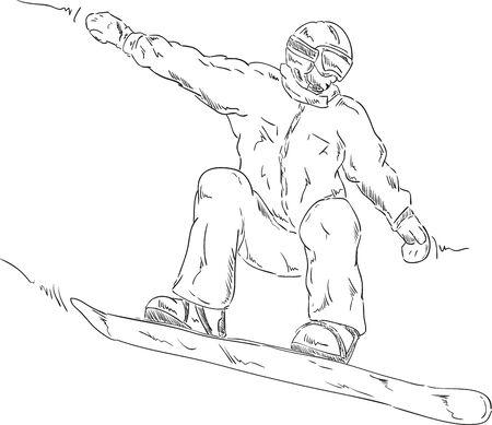 freeride: vector - saltar snowboard - aislada en el fondo