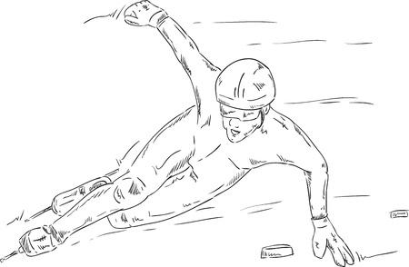 speed skating: vector - speed skating - shorttrack - isolated on background Illustration