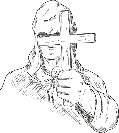 monk robe: vector - hooded monk with a cross in his hand Illustration