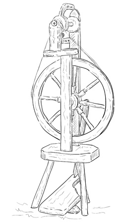 spinning wheel: Wool spinning wheel - isolated on background