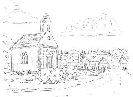 small chapel - Po���i u �eliva, Czech republic,Europe Vector