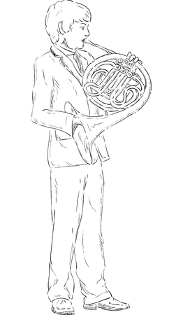 vector - a young boy playing french horn - isolated on background Vector