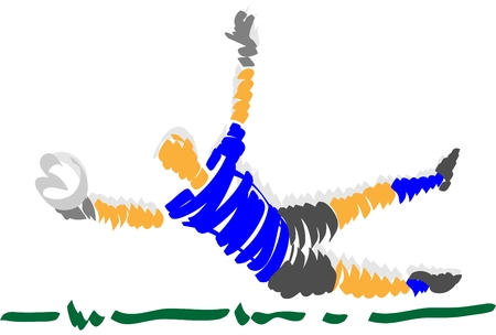 keeper: vector - abstract design soccer goal keeper - isolated on background
