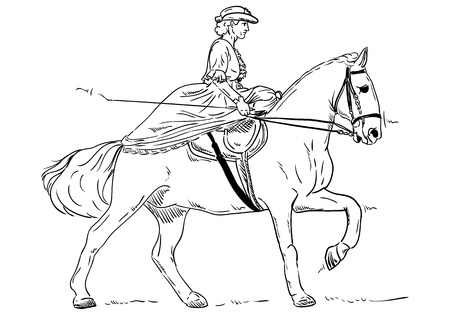 Historical woman on Horse Riding Vector