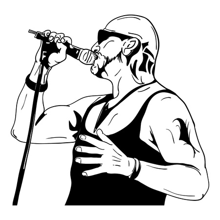 Rock man with a microphone - isolated on background Vector