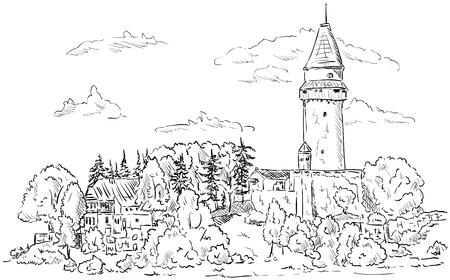Castle Stramberk on top hill, Czech republic,Europe