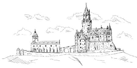 vector -   Old medieval castle Bouzov ,Czech republic,Europe Vector