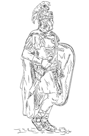 ancient roman: vector - Roman soldier, legionnaire ,isolated on background