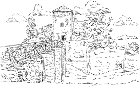 ruins: vector - The old ruins castle Lukov, Czech republic, Europe Illustration