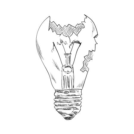 shatter: vector -  broken bulb - isolated on background