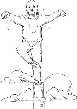 meditation man: vector - man practicing yoga meditation - isolated on background Illustration