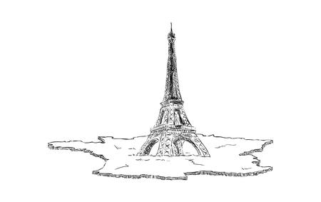 eifel: vector - Eifel Tower in Paris  with map France, Europe