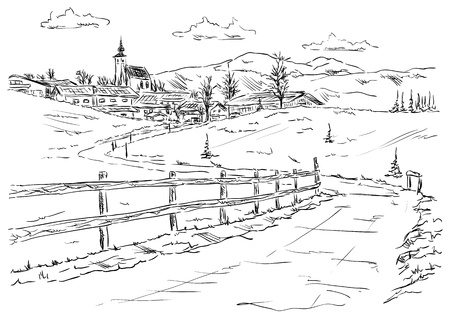 black and white image drawing: vector - village Golling an der Salzach - Torren, under the foot of the mountains Alpy , Europe,Austria