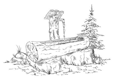 pozo de agua: vector - abrevadero de madera en la naturaleza - aislado en el fondo Vectores