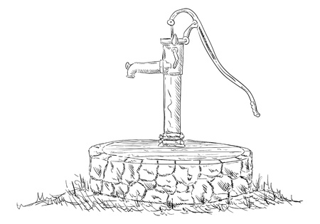 water well: vector - old water pump - isolated on background