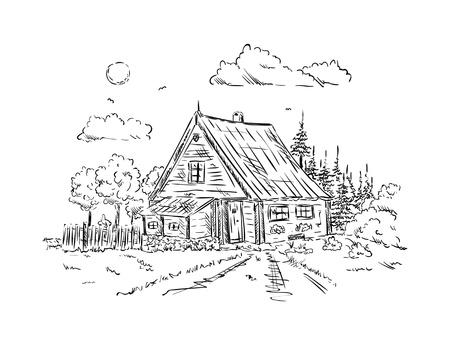 ベクトル - 古い木造コテージ、背景に分離