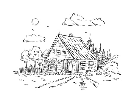 black and white image: vector - old wooden Cottage house , isolated on background