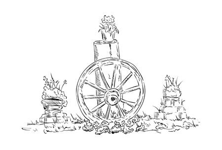 carreta madera: vector - Naturaleza muerta - vieja rueda de carro de madera con flores