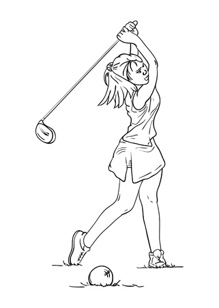 golf player: vector - women long hair -  golf player - isolated on background