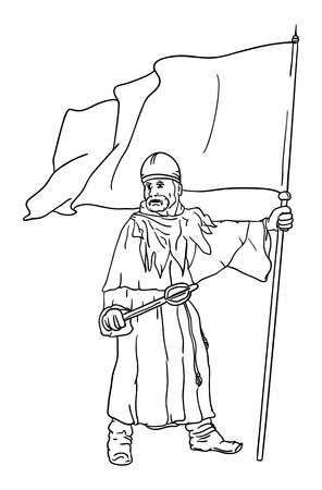 scimitar:  Historic soldier with flag  Illustration