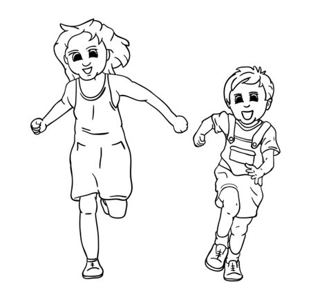 boy smiling:  happy girl and boy running and smiling Illustration