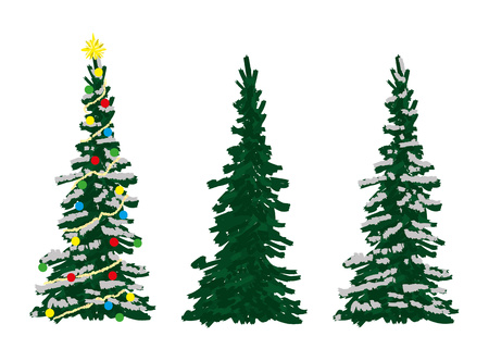 spruce: vector -three spruce trees at winter time Illustration
