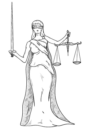 blind woman: Goddess of Justice - isolated on background Illustration