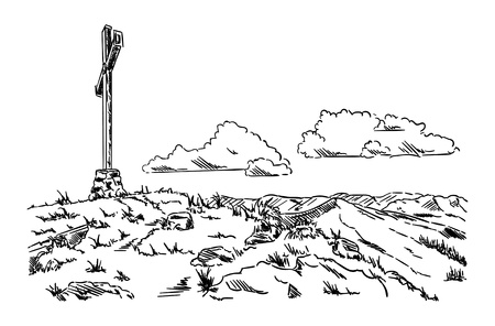 cross: large cross in the mountain landscape Illustration