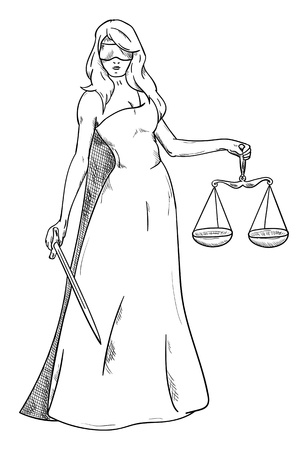 female lawyer: Goddess of Justice - isolated on background Illustration