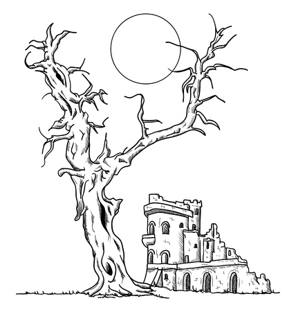 dry grass: Big old tree and ruin castle Illustration