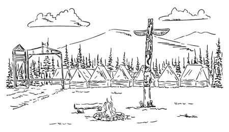 brandweer cartoon: Tentenkamp in het wild