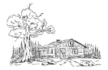 casa de campo: Antigua cabaña en las montañas en la naturaleza