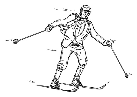 rapidity: vector - skiing-  historic - isolated on background