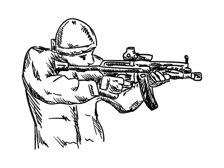 militant: vector - isolated on background - soldier