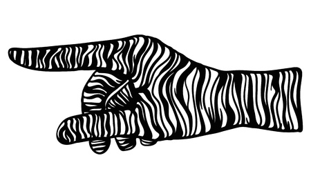 one people: vector - zebra hand gesture - isolated on background