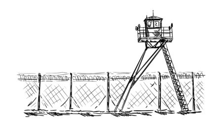 campamento: vector - Watch tower in prison, isolated on background Vectores