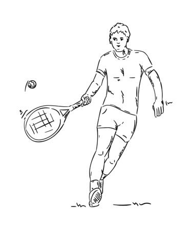 black men: vector - tennis player - isolated on background Illustration