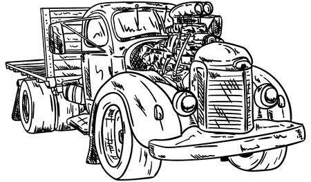 autosport: Vector - retro, hot-rod with big motor , isolated on background