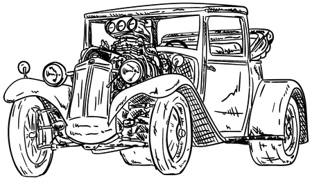 Vector - retro, hot-rod met grote motor, geïsoleerd op achtergrond
