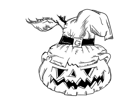 A vector - Halloween pumpkin with face - isolated on background