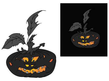 Vector - Halloween pumpkin with face - isolated on background Illustration