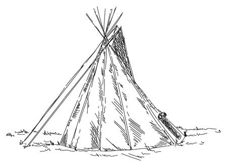 Indian teepee isolated on background. Illustration