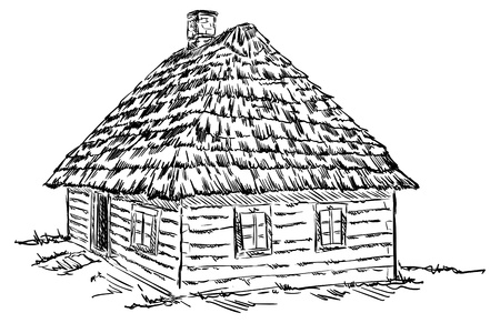 Ancient, old wooden house, isolated on background.