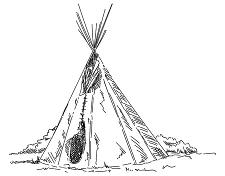 vector - indian teepee - isolated on background