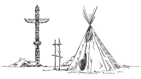 Indian teepee, isolated on background on black and white, sketch illustration. Illustration