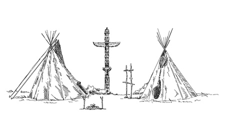 Sketch of Indian teepee. Vector illustration.