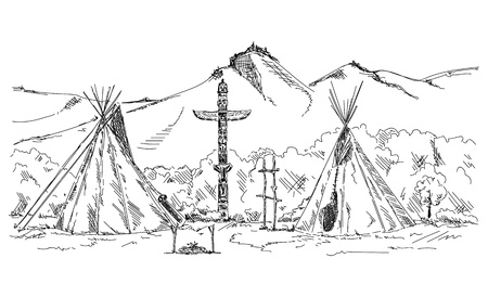 Sketch of Indian teepee. Vector illustration. Stock Vector - 93800451
