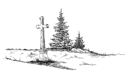 Sketch of a Calvary. Vector illustration. Illustration