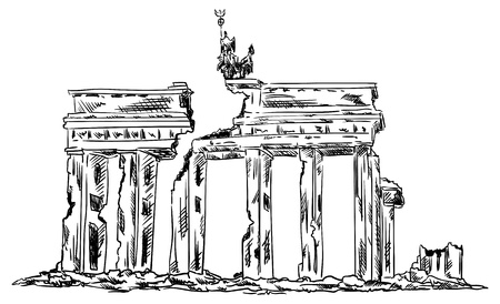 vector - ruins of the Brandenburg Gate isolated on background