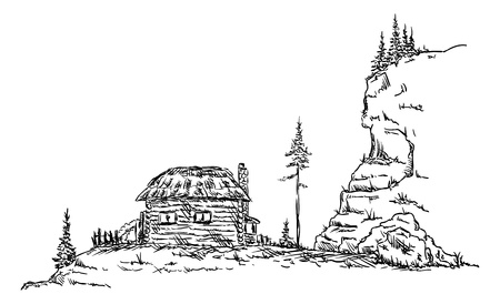 vector -  Old hut in the mountains in nature Illustration